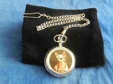 CHIHUAHUA CHROME POCKET WATCH WITH CHAIN (NEW)  (2)