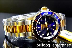Mens-Invicta-Pro-Diver-Blue-23kt-Gold-Tone-NH35A-Automatic-Coin-Steel-Watch-New