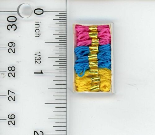 Dollhouse Miniature Sewing Box of Colorful Embroidery Sewing Thread