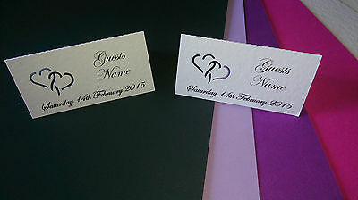 60 Personalised  table place cards with interlocking hearts
