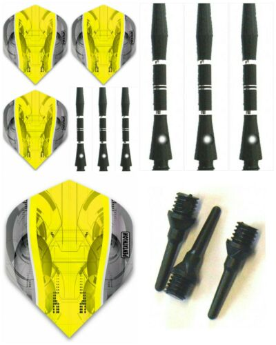 Pentathlon Silver Edge Dart Flights Aluminium Dart Schafte Softdart Zubehör Set