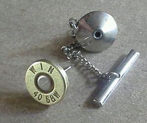 .40 Caliber Bullet Tie Tack. Unique un-dented primer! Most calibers available
