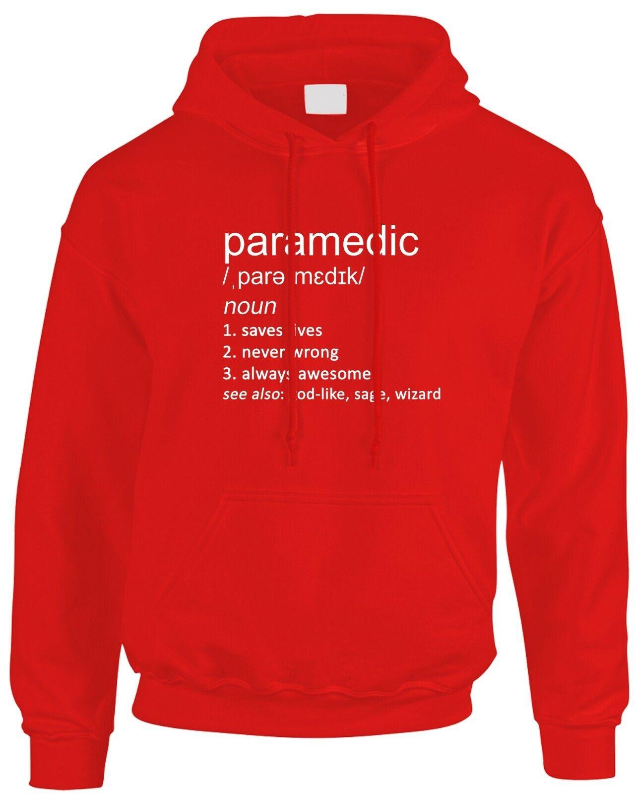 Paramedic Funny Definition Men's Mens Hoody Gift Idea Medic Ambulance Job Work