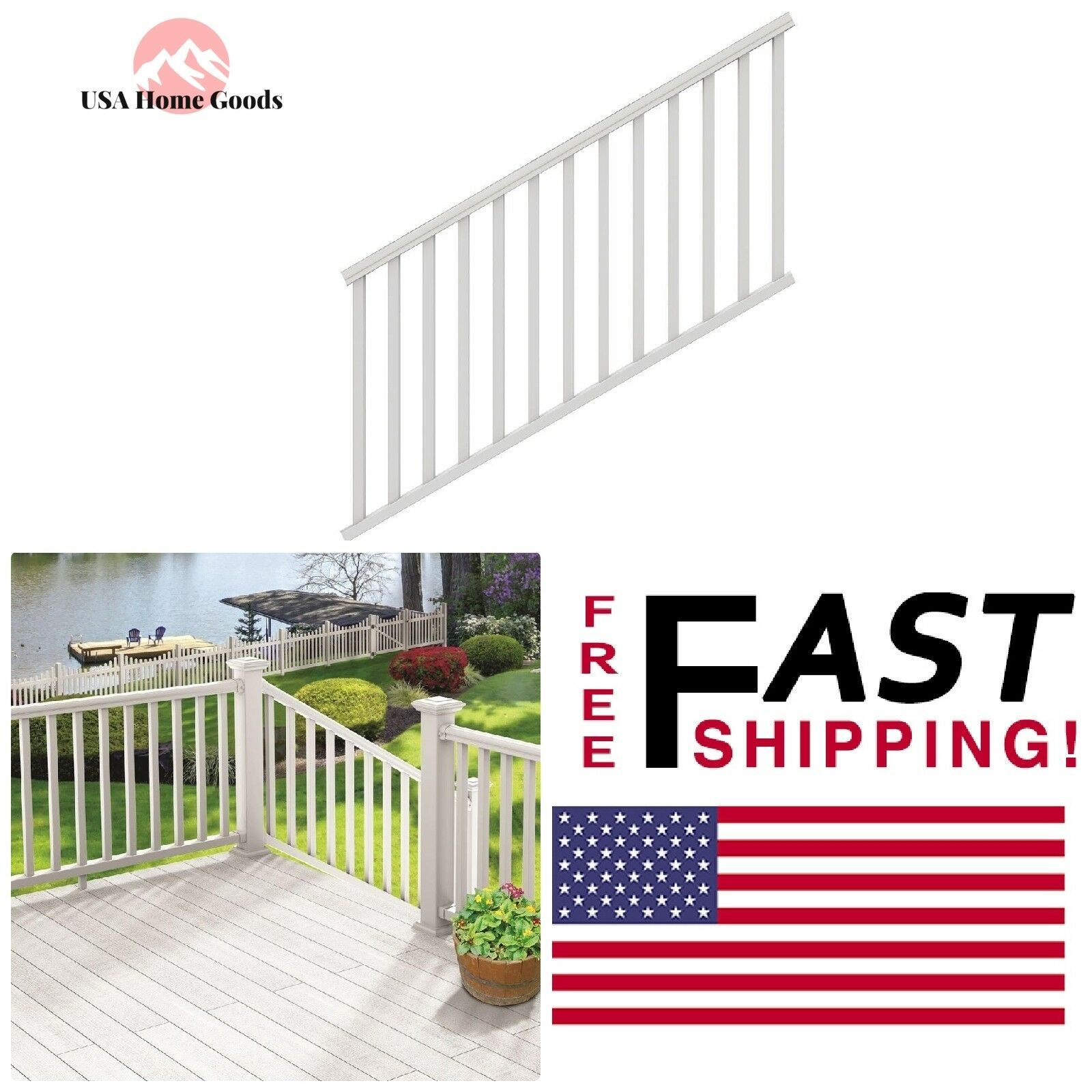 White Vinyl Traditional Stair Kit 6ft x 36in Weather Resistant Diagonal Railing