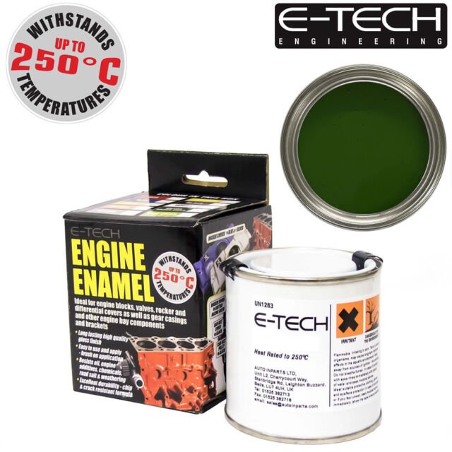 E-Tech BRITISH RACING GREEN Heat Resistant Engine Enamel Paint 250ml **NEW**