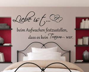 Wandtattoo Schlafzimmer Liebe ist beim Aufwachen..Wandspruch ...