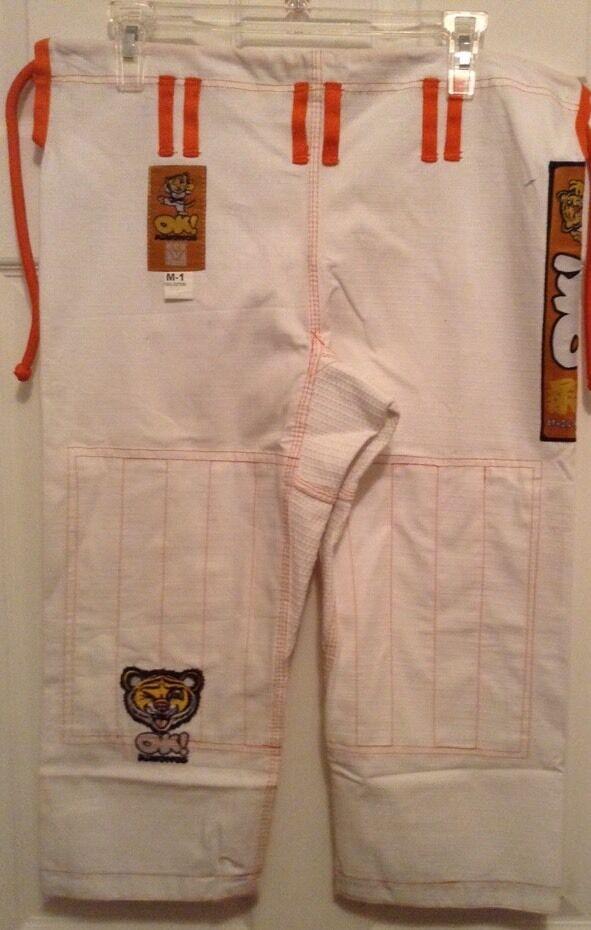OK  Kimonos Kids Premium Tiger Jiu Jitsu White Pants M-1, M-2, Or M-3