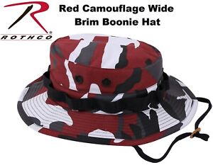 a49c9b83ed050 Image is loading Red-Camouflage-Military-Wide-Brim-Police-Tactical-Bucket-