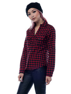 c992c526 Womens Tops Red & Black Long Sleeve Checkered Flannel Plaid Shirt ...