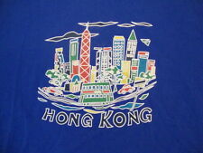 Hong Kong China Skyline Vacation Souvenir Blue T Shirt L