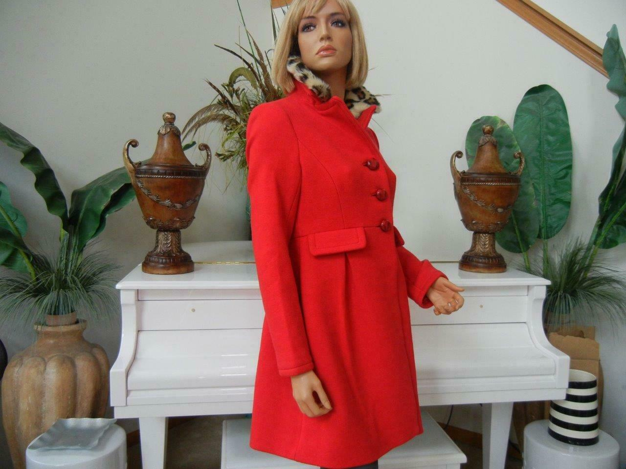 NWT KATE SPADE ORIENT RED SHANGHAI COLLECTION LEOPARD COLLAR DRESS COAT