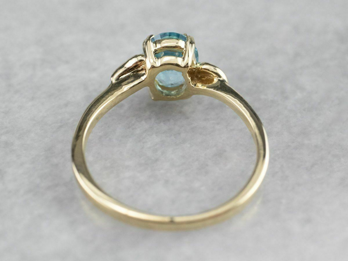 Blue Topaz Gold Solitaire Ring - image 5