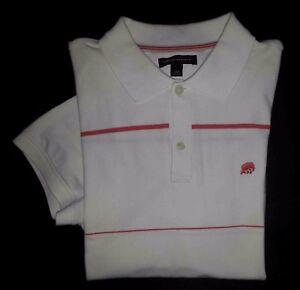 726d6eb12 Banana Republic Shirt Golf Polo L White Pink Stripe Elephant Logo S ...