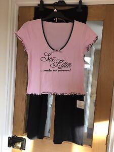 Ann Summers Sex Kitten Pj Set Black//pink Size 14-16 NEW