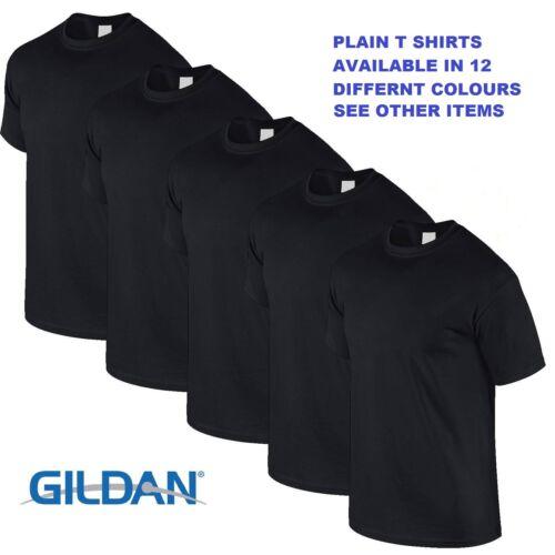Black 1 5 10 20 Pack Mens Blank Gildan Plain Cotton T Shirts T Shirt Tee Top Lot