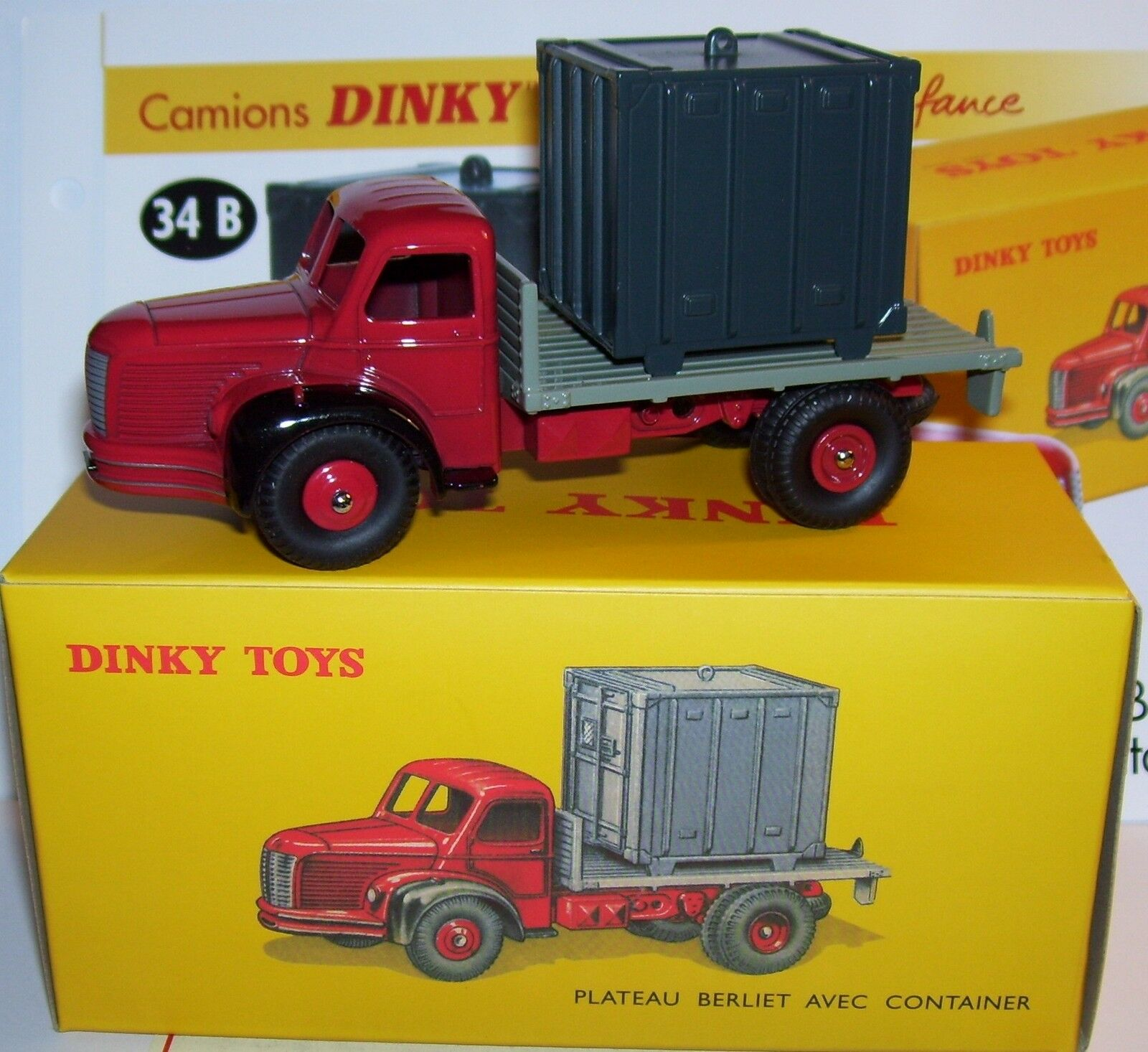 DINKY TOYS ATLAS PLATEAU BERLIET & CONTAINER CONTAINER CONTAINER REF 34B IN BOX NEUF sans documents 9a2bdd