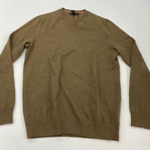 Banana Republic Knit Sweater Men's Medium Long Sleeve Brown V Neck Merino Wool