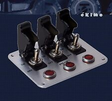 3 Row Black Safety Cover Aircraft Toggle Switch with Red Indicator Light