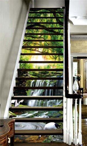 3D Wald Hirsch 1335 Stair Risers Dekoration Fototapete Vinyl Aufkleber Tapete DE
