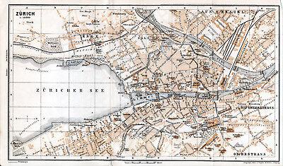 Sporting Zürich 1895 Kl. Orig. Stadtplan + Reisef. (7 S.) Dampfschwalben Enge Limmat Zh Feine Verarbeitung