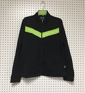 Be-Inspired-Women-039-s-Zipper-Front-Black-Lime-Yoga-Active-wear-Top-Jacket-3X-NWT