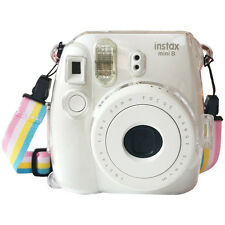 New Clear Transparent PROTECTIVE CASE For Fujifilm Instax Mini 8 Camera + Strap