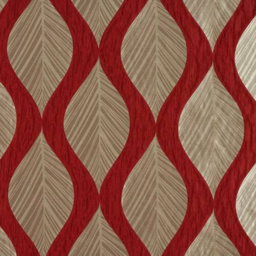 Striking Red Detailed Leaf Patterned Fabric Ashley Wilde Botinia Cherry