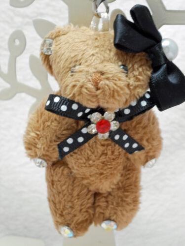 Ribbon//Brown Teddy bear Plush Strap
