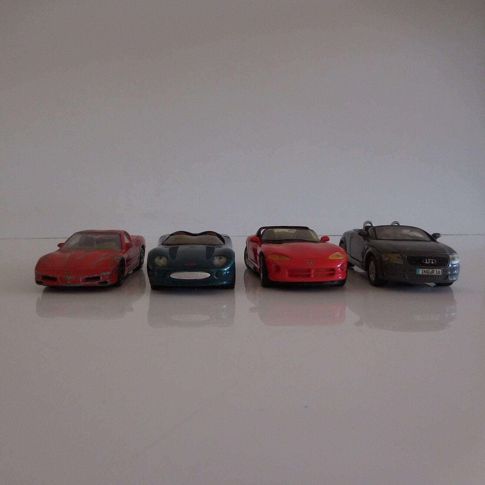4 Coches Miniaturas Vintage Colección Audi Dodge Jaguar Chevrolet