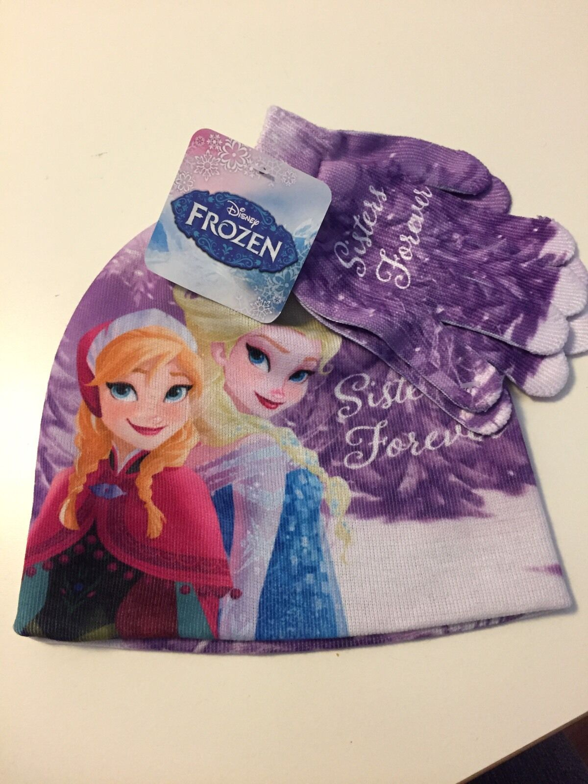 Girls Frozen Elsa /& Anna Sisters Forever Winter Beanie Hat Scarf and Gloves 3-Piece