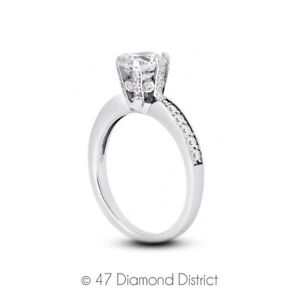 1-27ct-tw-I-VS2-Round-Natural-Certified-Diamonds-14K-Gold-Classic-Sidestone-Ring