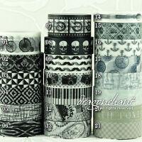 Washi Tape Paper Decorative Adhesive Masking Roll Card Craft Trim BLACK & WHITE
