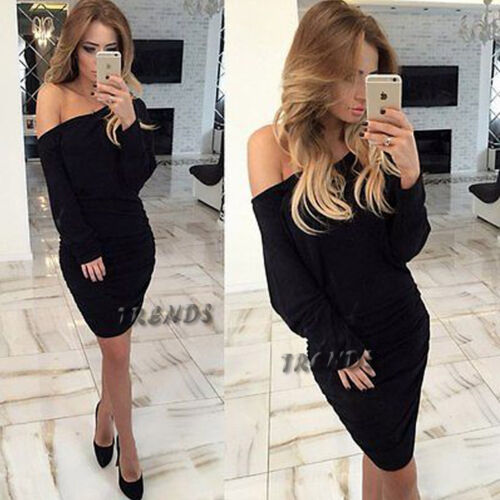 UK Womens Bodycon Off//One Shoulder Dress Ladies Party Evening Mini Size 6-14