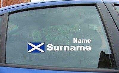 Rally Race nom fenêtre noms Tag Ecosse drapeau écossais Stickers Autocollants x 2