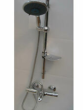 THERMOSTATIC WALL BATH SHOWER MIXER TAPS, TOP OUTLET, LARGE HANDHELD SET 354/351