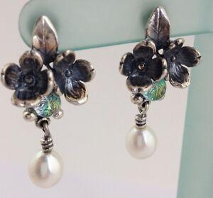 Image Is Loading Authentic Trollbeads Sterling Silver Flowers Dangle Pierced Earrings