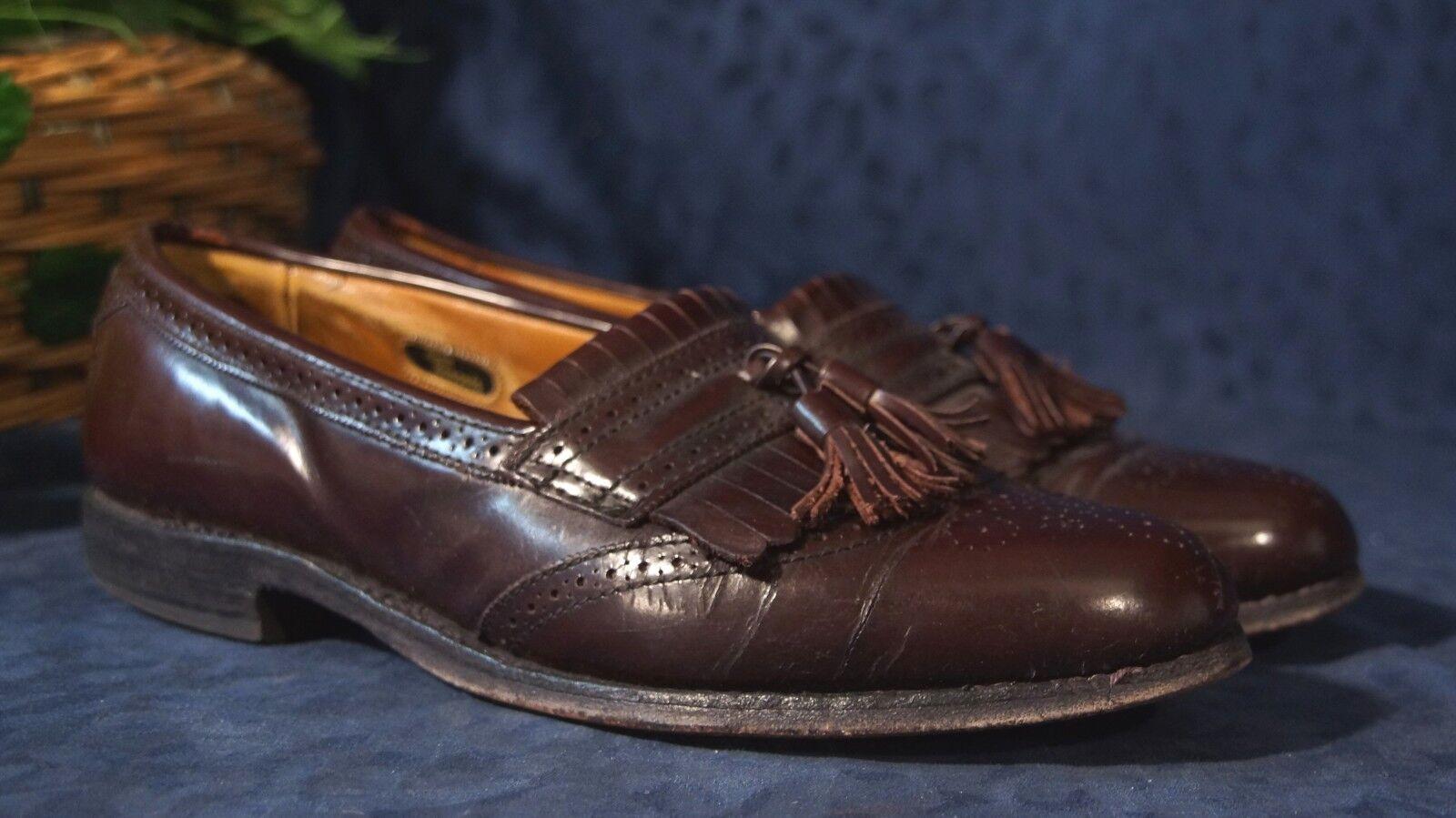 Vintage ALLEN EDMONDS Cordovan Burgundy BRIDGETON Tassel Loafers Sz 9B