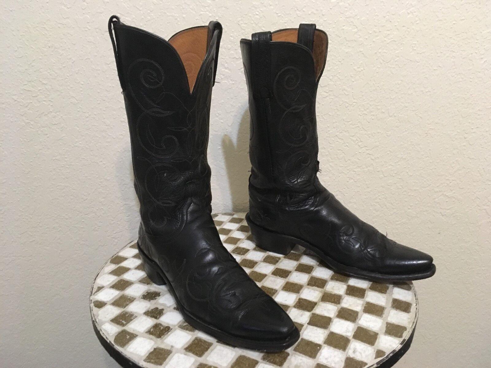 USA schwarz LUCCHESE WESTERN COWBOY DANCE RODEO Stiefel 8.5 B