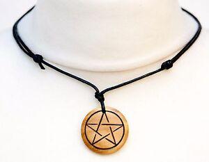 Pentagram necklace pagan jewellery pentagram choker mens wooden image is loading pentagram necklace pagan jewellery pentagram choker mens wooden aloadofball Choice Image