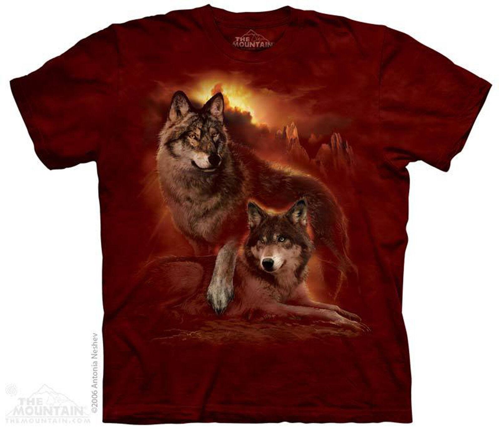 (1793) the MOUNTAIN T-SHIRT MAGLIETTA Wolf Sunset LUPO LUPI S fino a 5xl