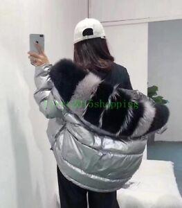 2019-Fashion-Girl-039-s-Women-Puffer-Down-Coat-Big-real-fur-Hooded-reversible-Jacket