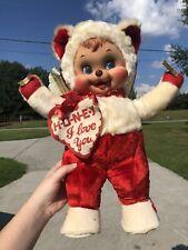Vintage Rushton Rubber Face Valentine?s Day Cupid Bear 1950?s Retro Bear