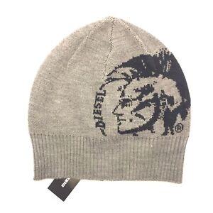 b8281efa123 DIESEL Mens Womens Unisex R Grafissa Logo Beanie Knit Cap Hat Gray ...