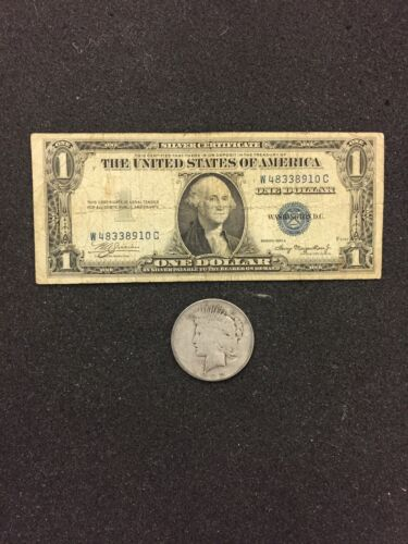 FREE SHIPPING 1935 Silver Certificate /& PEACE  SILVER DOLLAR 90/% SILVER