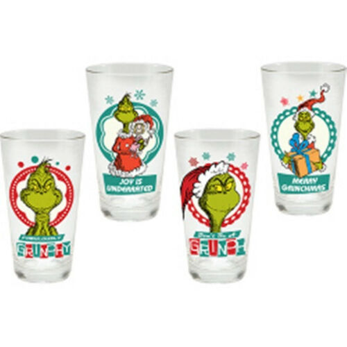 Seuss How The Grinch Stole Christmas Merry Grinchmas 4 pc 16 oz Dr Glass Set