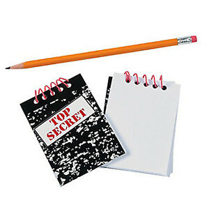 SPECIAL AGENT PARTY Mini Notepad Top Secret Note Pad Favour Pk of 6 Free Postage