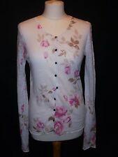 delicate pure fine linen knit cardigan rose print KEW jigsaw size 10
