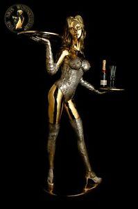 Bronze-Skulptur-Figure-Angelina-Statue-Erotik-Sexy-Dienerin-Tablett-Lifesize