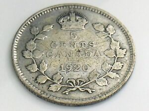 1920-Canada-Small-Five-5-Cent-Silver-Circulated-Canadian-George-V-Coin-I457