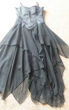 Gothic Cross Long Black Satin Lace DARK ANGEL Lace Up Corset Dress Waterfall 14